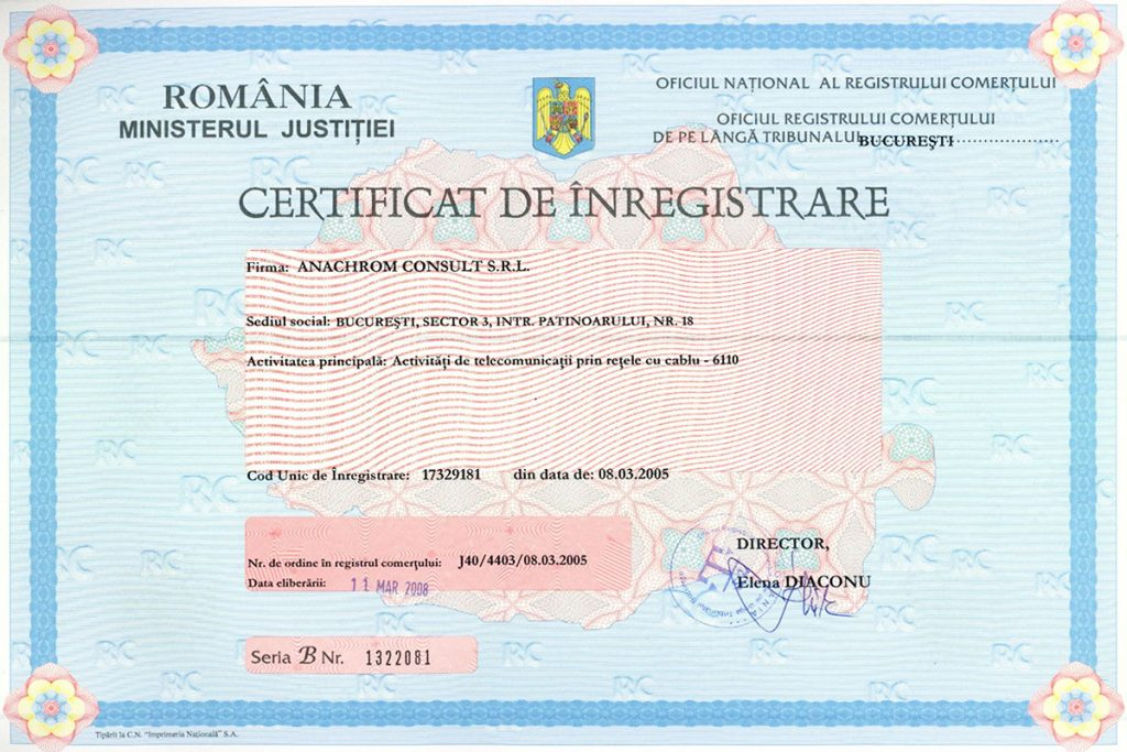 Certificat de inregistrare - NG-Network powerd by Anachrom Consult
