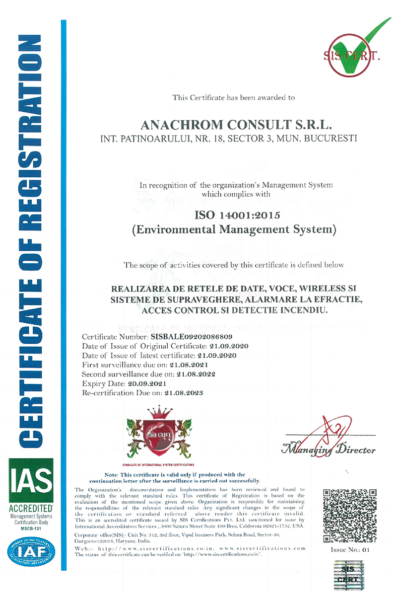 Certificare ISO:14001 - NG-Network powerd by Anachrom Consult