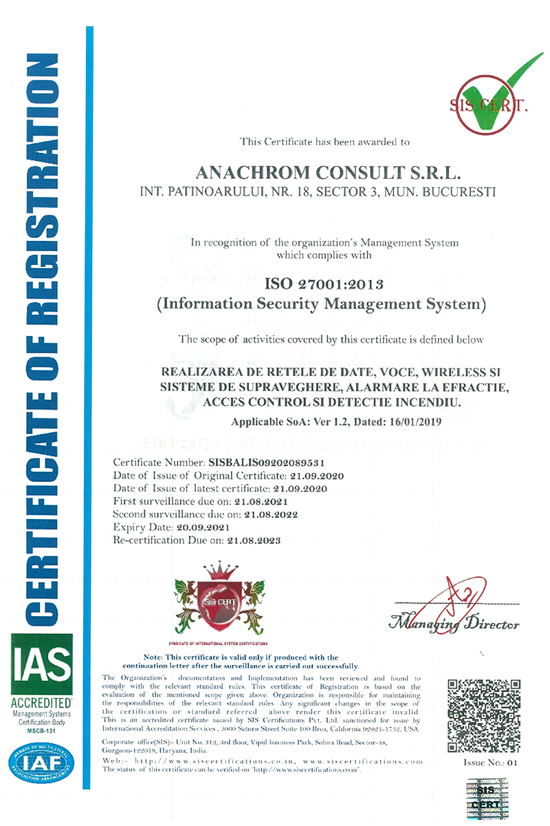 Certificare ISO:27001 - NG-Network powerd by Anachrom Consult
