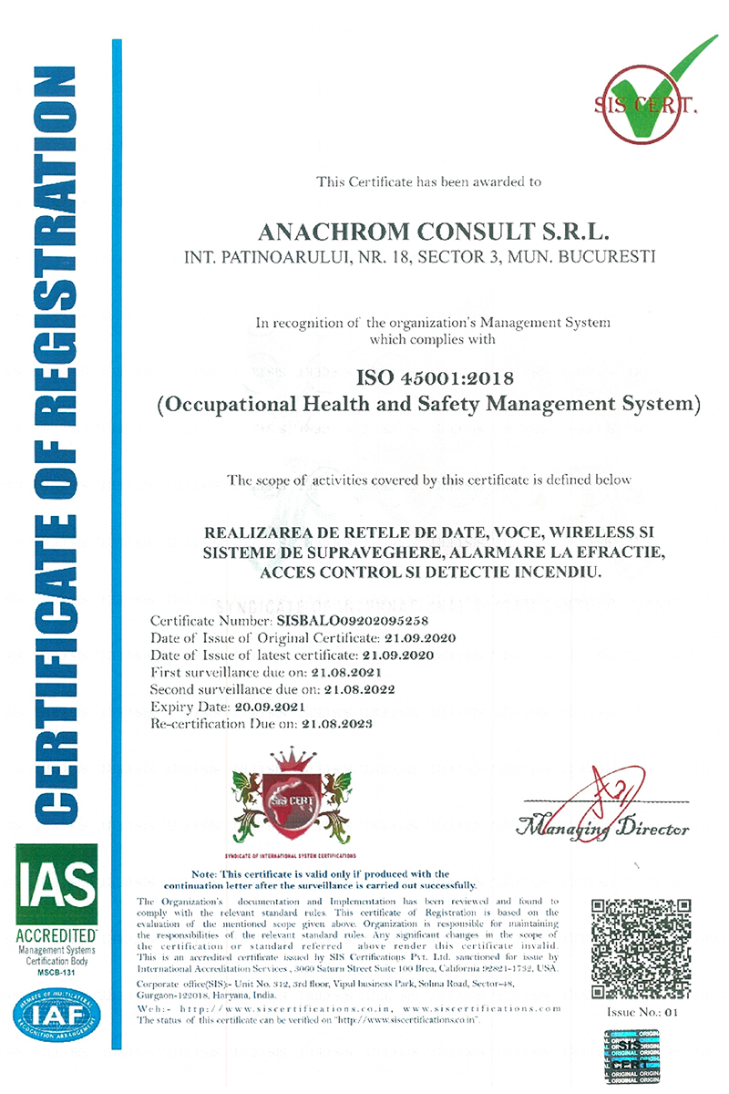 Certificare ISO:45001 - NG-Network powerd by Anachrom Consult